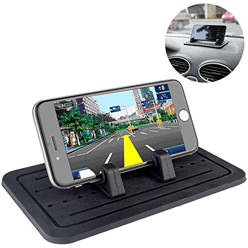 Car Silicone Pad Dash Mat & Cell Phone Mount Holder Cradle Dock For Any Smartphone iPhone 7/6/5/4 & (S, Plus) Samsung Galaxy S7/S6/S5/S4 edge 7 & GPS Table Holder 2 in 1