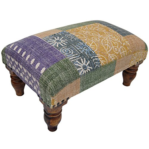 Herat Handmade Printed-Cotton Upholstered Wooden Footstool (India) by Herat Oriental