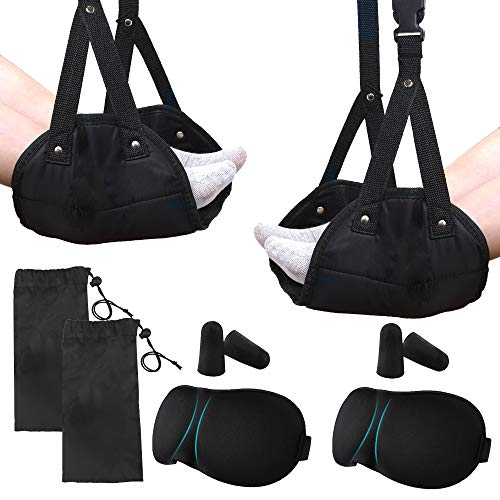 Outkitkit 2 Pack Foot Hammock, Travel Airplane Portable Foot Rest, Office Under Desk Adjustable Footrest Hammock with Sleep Masks and Ear Plugs