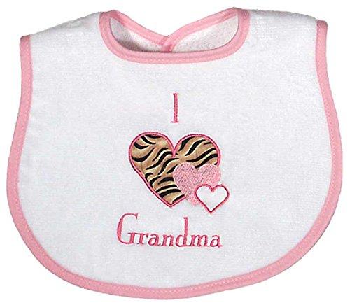 Raindrops I Love Grandma Appliqued Bib, Pink