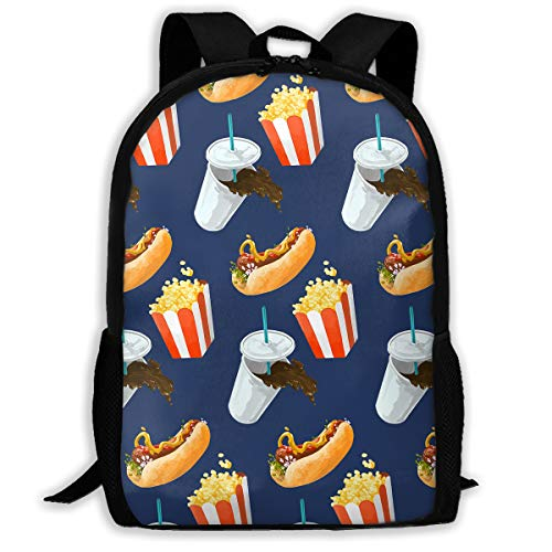 Price comparison product image Adult Casual Backpack French Fries Hamburger School Daypack Oxford Laptop Unisex Travel Shoulder Bags