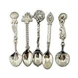 Autohome Retro Dessert Coffee Small Beauty Spoons Alloy Flatware 5 Pack -Silver