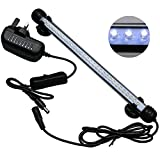 Mingdak® LED Aquarium Light Kit For Fish Tank,Underwater Submersible Crystal Glass Lights Suitable for Saltwater and Freshwater,18 LEDS,8-Inch,Lighting Color Whit