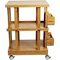 Mind Reader 3-Tier Kitchen Utility Cart with 2 Storage Compartments, Bamboo Wood, Brown