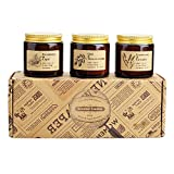 Scented Candles, Gift Set of 3 Rustic Apothecary Amber Jar Soy Candles - Natural Organic Soy Wax Candles for Aromatherapy, Stress Relief, Relaxation, Home Decor, Women and Men (3.5oz each)