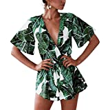 Odosalii Women's Floral Pattern V Neck Tassel Elastic Waist Loose Short Romper Jumpsuit, Green, Medium