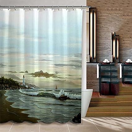 ChadMade Fabric Waterproof Coastal Lighthouse Bathroom Shower Curtain In 72quotW X 72quotL