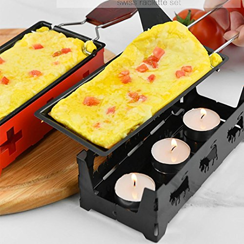 Nonstick Mini-Cheese Griddle Cookware, Mini Tea Light Raclette Set