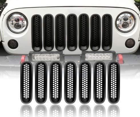 Mattle Black Front Grille Mesh Insert Kit for 2007-2015 Jeep Wrangler JK(7pcs, Clip in Install) u-Box