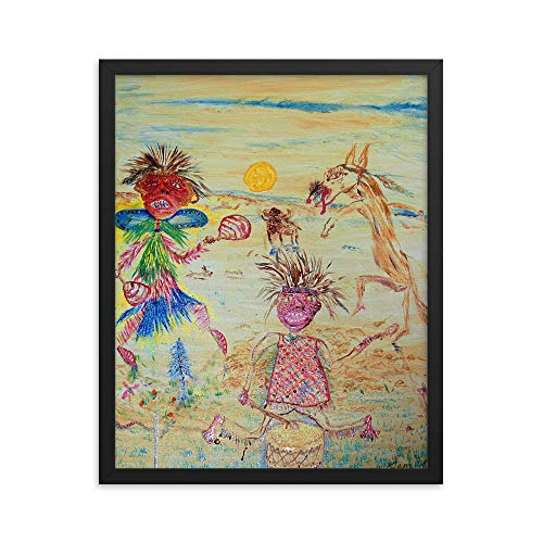 "Sam's Art ""Rhythm Dancer"" by Samuel Butler, Abstract Native American Art Framed Reprint 16"