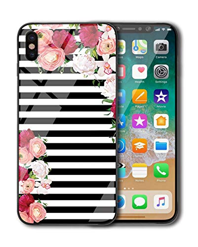 - KITATA iPhone Xs Case for Girls [Slim Fit], Black and White Stripes Flowers - Rose Floral Art Print Design for Women, Shockproof Impact Resistant Drop Protection Protective TPU Silicone