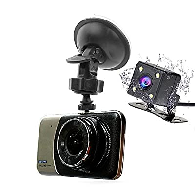 "Roadspace HD 1080P Car DVR Dash Cam 4"" IPS 170° Wide Angle Dual Lens Car DVR Camera With Loop Recording Parking Monitor Front 1920x1080+Rear 720x480 Rear view Night Vision by Roadspace"