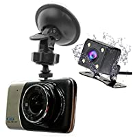 Roadspace HD 1080P Car DVR Dash Cam 4 IPS 170° Wide Angle Dual Lens Car DVR Camera With Loop Recording Parking Monitor Front 1920x1080+Rear 720x480 Rear view Night Vision