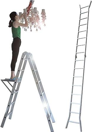 Qiangmei Escaleras Plegables Aluminio Escalera Plegable Multifunción, Escalera De Aleación De Aluminio, Escalera Doméstica Escalera Escalera De Ingeniería De Bambú Taburete Escalera Plegable: Amazon.es: Hogar