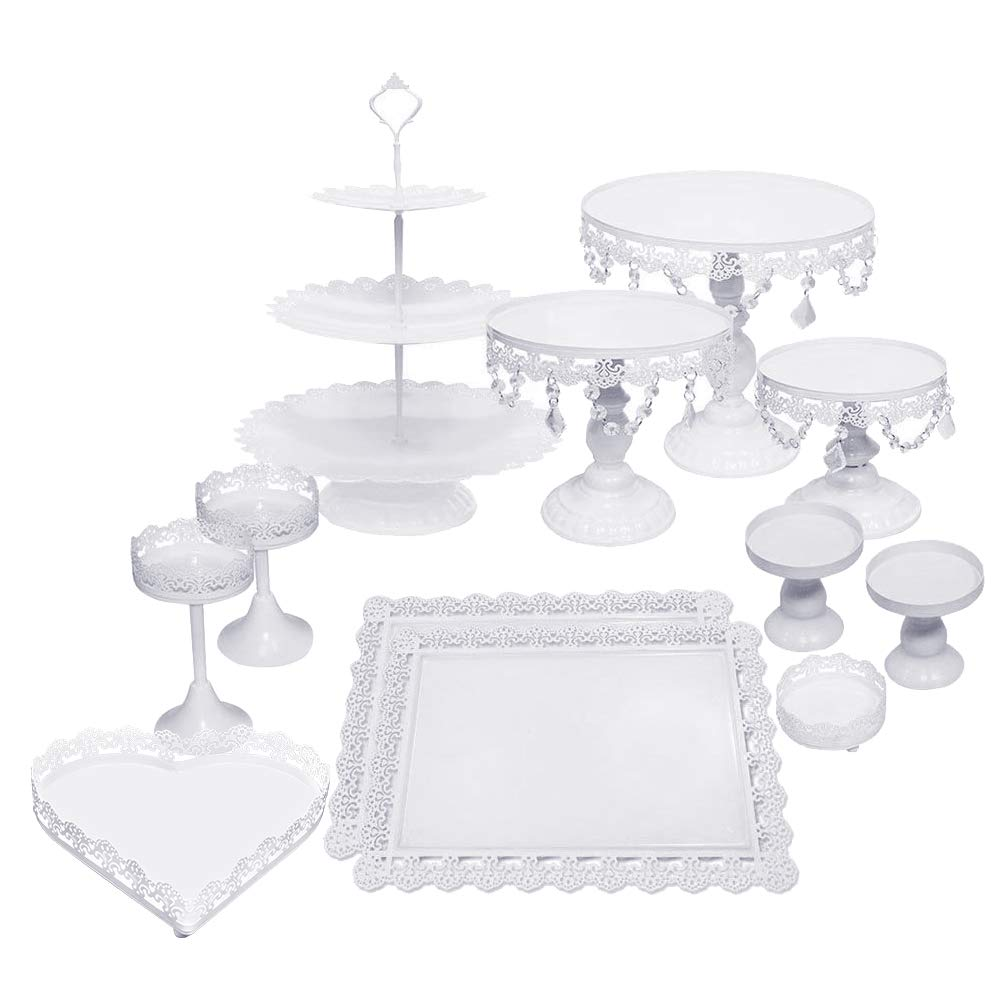 Lucky Monet 12Pcs Crystals Cake Stand Cupcake Tower Stand Wedding Plates Set Metal Round Party Dessert Display Décor with Crystals Beads (12pcs, White)