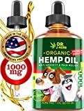 Hemp Oil for Dogs Cats Organic Hemp Extract Drops 1000 mg Made in USA Natural Dog Pain Relief Pet Stress & Anxiety Calming Support Health Easily Apply to Treats Pet Hemp Oil