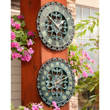 Rustic Antique Outdoor Wall Clock and Thermometer Set of 2 -Copper Finish 14