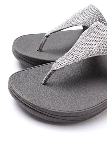 Fitflop Slinky Rokkit Toe-post - Sandalias con tacón Mujer Plata (Silver)