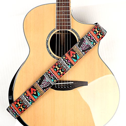 (Deviser Ndebele national style Denim Cotton Guitar Straps,Soft leather end with pick holder For acoustic,classical,electric,bass guitar/2 picks Color Random Free (Orange))