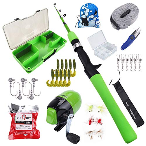 Freehawk Kids Fishing Pole with Spincast Reel,Fishing Rod Combo Full Kits, Portable Telescopic Youth Fishing Rod with Full Kits Lure Case and Carry Bag for Youth Fishing and Beginner (Green) (Best Beginner Fishing Rod Combo)