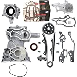 NEW TK10120TCWPOP HD Timing Chain Kit (2 Heavy Duty Metal Guides & Bolts) with Timing Cover, Water Pump, & Oil Pump / 85-95 Toyota 2.4L 4Runner Pickup Celica SOHC 8-Valve Engine 22R 22RE 22REC