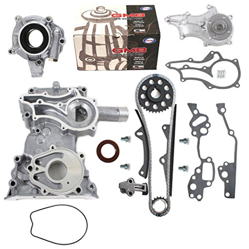NEW TK10120TCWPOP HD Timing Chain Kit (2 Heavy Duty Metal Guides & Bolts) with Timing Cover, Water Pump, & Oil Pump / 85-95 Toyota 2.4L 4Runner Pickup Celica SOHC 8-Valve Engine 22R 22RE 22REC ()