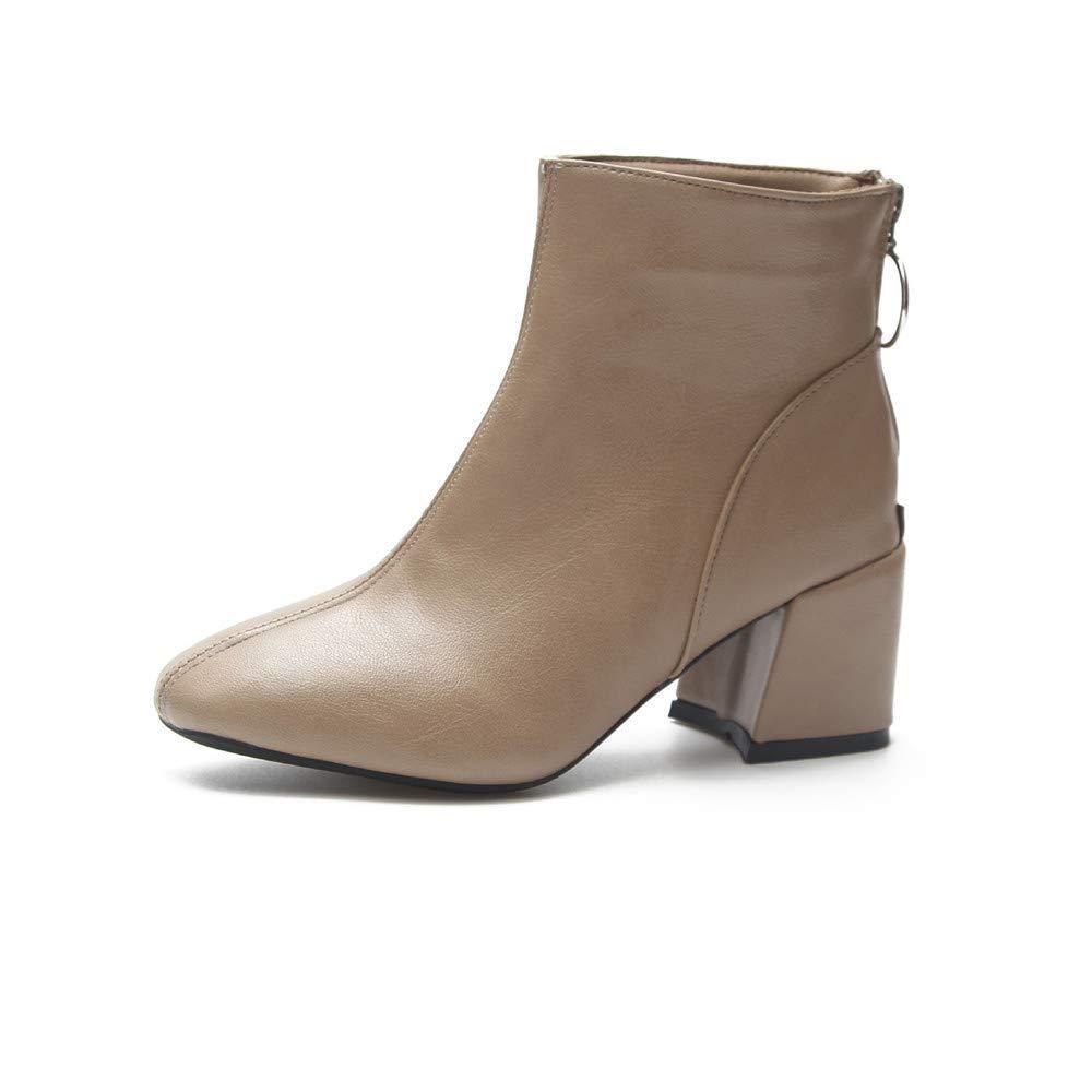 High Heels Damenstiefel Spitzen dicken Absatzschuhen niedriger Schlauch Martin (Farbe   37, Größe   Grau)