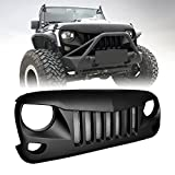 jeep wrangler grill cover - ICARS Black Front Matte Black Eagle Eye Grille Grid Grill with Mesh Insert for 2007-2018 Jeep Wrangler JK JKU Unlimited Rubicon Sahara