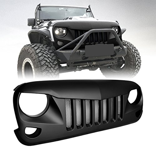 ICARS Black Front Matte Black Eagle Eye Grille Grid Grill with Mesh Insert for 2007-2017 Jeep Wrangler JK Unlimited Rubicon Sahara