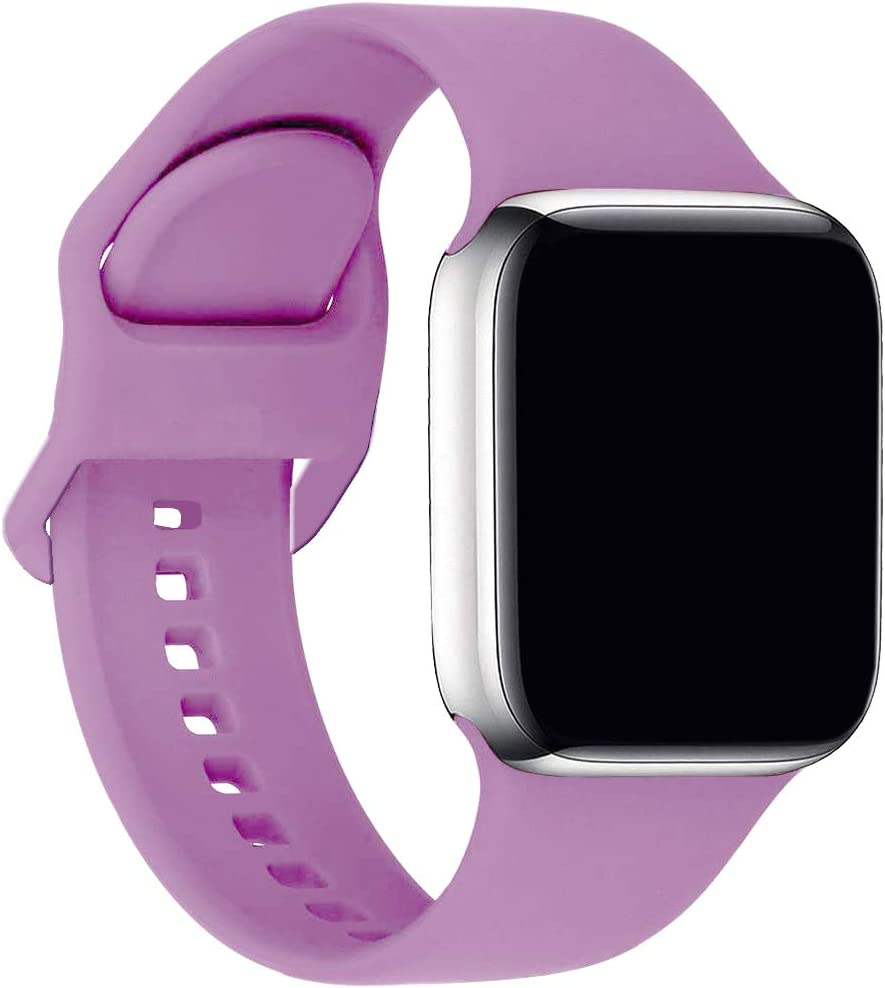 ic6Space Bands Compatible with Apple Watch Series SE/6/5/4/3/2/1, Soft Silicone Sports Replacement Band for iWatch 38mm 42mm 40mm 44mm (Lavender, 38mm/40mm-M/L)