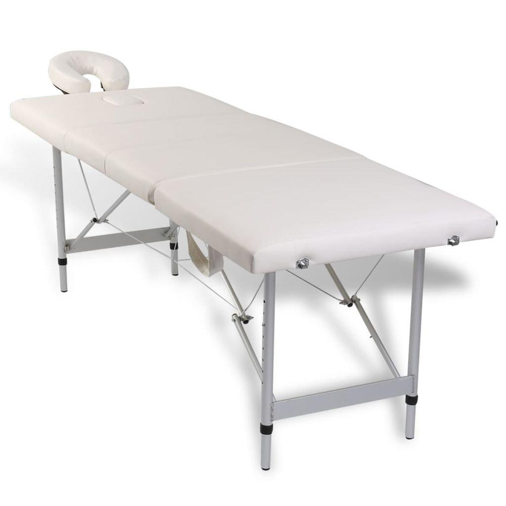 vidaXL Table de Massage Pliante Lit de massage 4 Zones Crème Cadre en Aluminium + Sac