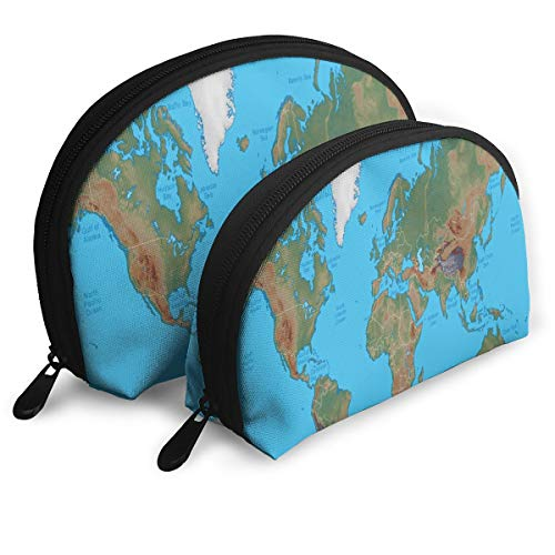 Makeup Bag World Physical Map Portable Shell Pouch For Girls Halloween Gift 2 Pack ()