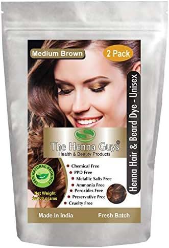 2 Packs of MEDIUM BROWN Henna Hair & Beard Dye/Color - The Henna Guys