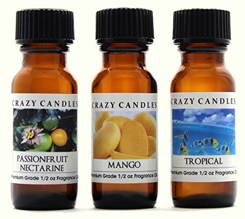 Crazy Candles 3 Bottles Set, 1 Passion Fruit Nectarine, 1 Mango, 1 Tropical 1/2 Fl Oz Each (15ml) Premium Grade Scented Fragrance -