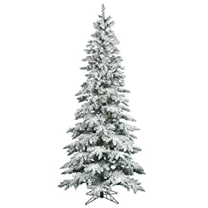 vickerman 75 flocked slim utica fir artificial christmas tree with 400 warm white led lights - 75 White Christmas Tree