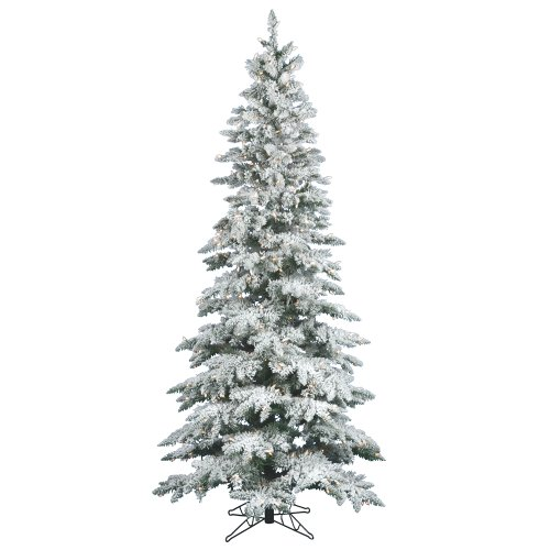 Vickerman 65' Flocked Slim Utica Fir Artificial Christmas Tree with 300 Warm White LED Lights by Vickerman