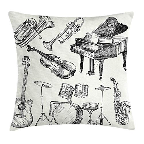 Ambesonne Jazz Music Throw Pillow Cushion Cover, Illustration of Musical Instruments Sketch Style Art with Trumpet Piano…