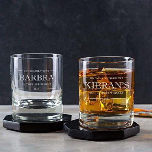 Personalized Whiskey Glass - Personalized Retirement Gifts for Men - Personalised Retirement Gifts - Coworker Leaving Gifts - Customized Retirement Gifts