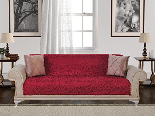 p Armless 1-Piece Sofa Throw Slipcover for Dogs Pets Kids Non-Slip Furniture Cover Shield Protector Fitted 2 & 3 Cushion Couch Futon Sectional Recliner Seater Acacia Sofa Red (Red Microfiber Sofa)