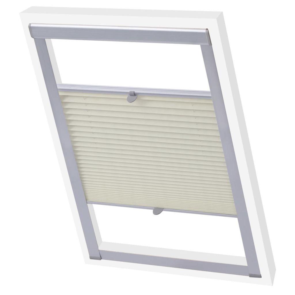 vidaXL Store plissé Velux Crème 102 Store Pliant pour fenêtre Protection Solaire