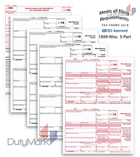 Complete Laser 1099 Misc Tax Form set And 1096 - Kit For 25 Vendors ~5-Part~ All 1099 Forms in Value Pack | 1099 Misc 2018