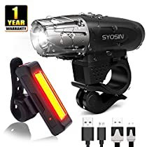 H-Fun Rechargeable Bike Light Set 400 High Lumen Front and Rear Cycling Safety Light Super Bright LED Headlight and Tail Light-Easy to Install and Waterproof Bicycle Flashlight, Black