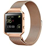 Fashion Milanese Magnetic Stainless Steel Watch Band,Ninasill etal Frame For Fitbit Blaze S Watch Strap (Rose Gold)