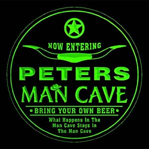 4x ccpb1197-g PETERS Man Cave Cowboys Bar Beer Drink Etched Engraved 3D Coasters