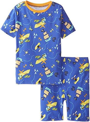 New Jammies Big Boys' Organic Cotton Pajama Short Set, Pirate's Ocean, 12