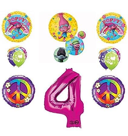 Amazon.com: Trolls Paz 4th Feliz cumpleaños Globos de fiesta ...