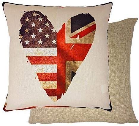 Corazón Union Jack Estrellas y Rayas Bandera de EEUU Rojo Azul Tejido 17