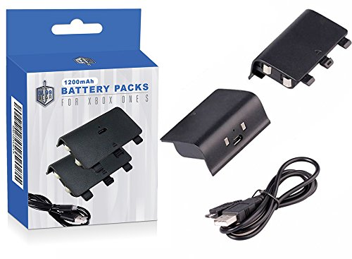 Price comparison product image Xbox One X Black Controller Battery Packs - Two Supercharged Long Lasting Packs with Charging Cable - By LVL99Gear