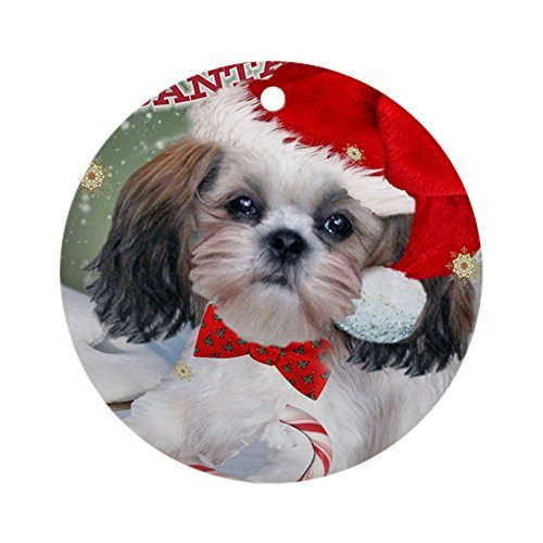 EvelynDavid New Year Christmas Tree Decoration Shih Tzu Santa Paws Card Copy Round Holiday Christmas Ornament