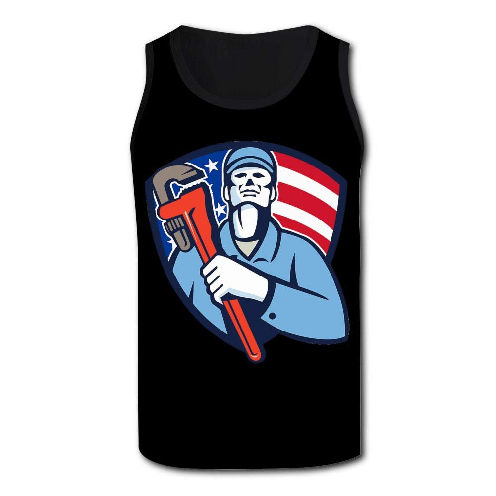 GCASST Plumber Hand Pipe Wrench Shield 3D Printed Casual Tank Tops Fashion Vest for Men